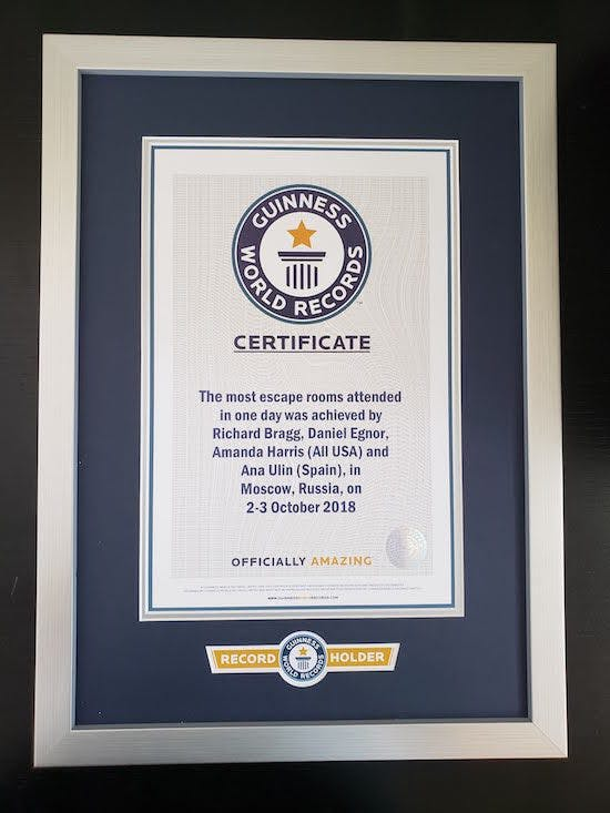 Official Guinness record certificate